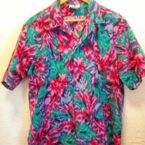 Hilo Hattie Hawaiian Shirt Tropical Print (Flaw)